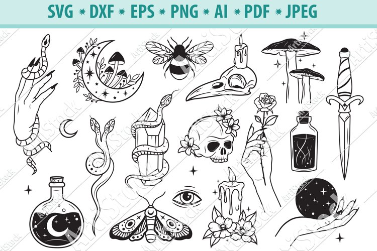 Mystical SVG, Witchy hands svg, Celestial Svg, Eps, Dxf, Png example image 1