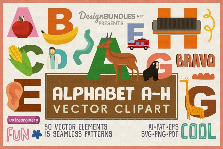 Kids Alphabet Learning A-H Vector Clipart Pack