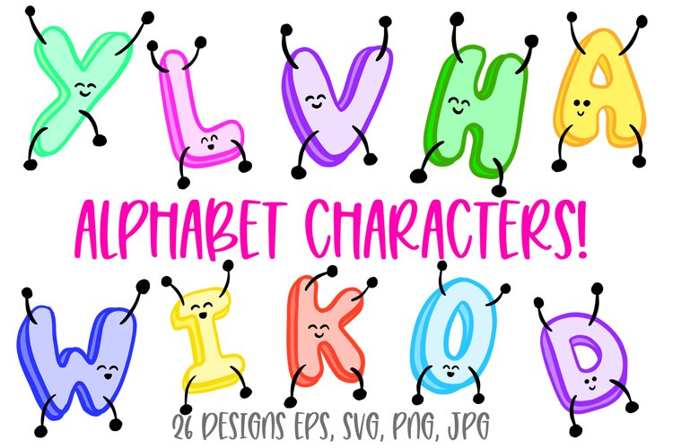 Jumping ABC Alphabet Cartoon Characters! SVG, PNG, JPG, EPS example image 1