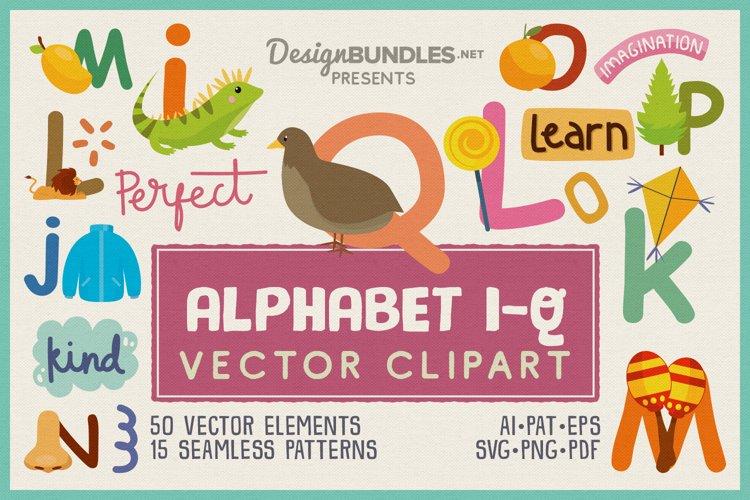 Kids Alphabet Learning I-Q Vector Clipart Pack