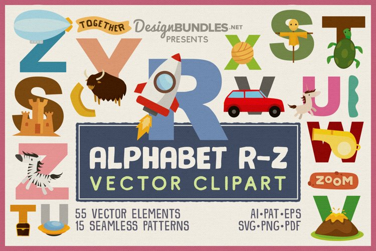 Kids Alphabet Learning R-Z Vector Clipart Pack