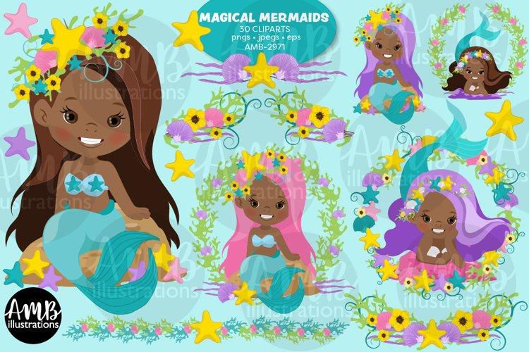 Dark Skin Mermaid clipart, Mermaids clipart AMB-2971