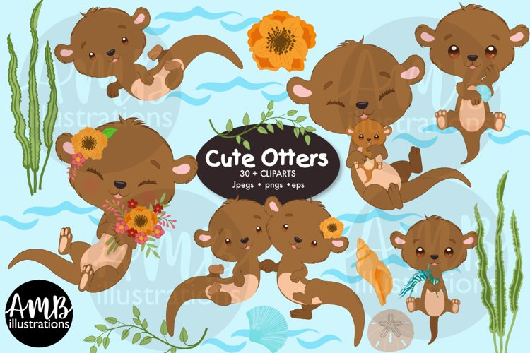 Otter family clipart pack, AMB-2979