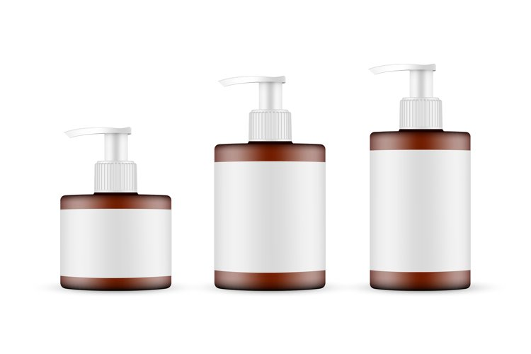 Amber Pump Bottles Mockups with Labels Isolated example image 1