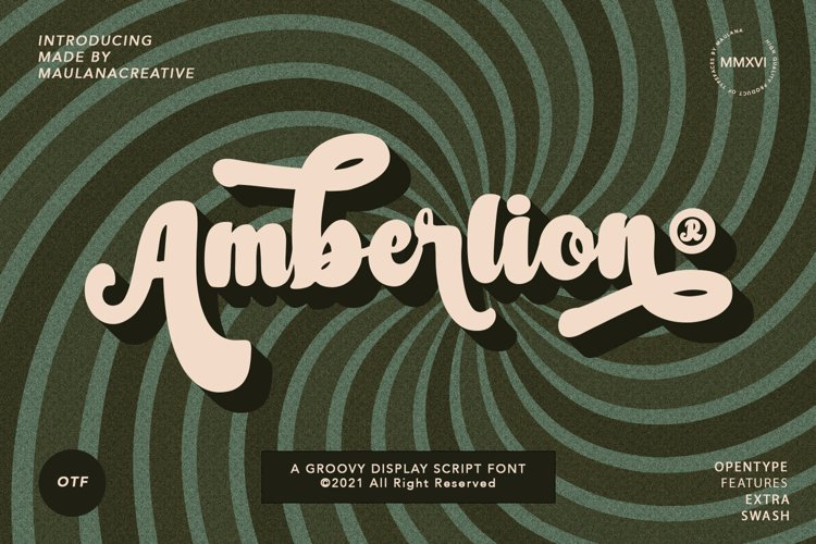 Amberlion Groovy Diplay Script Font example image 1