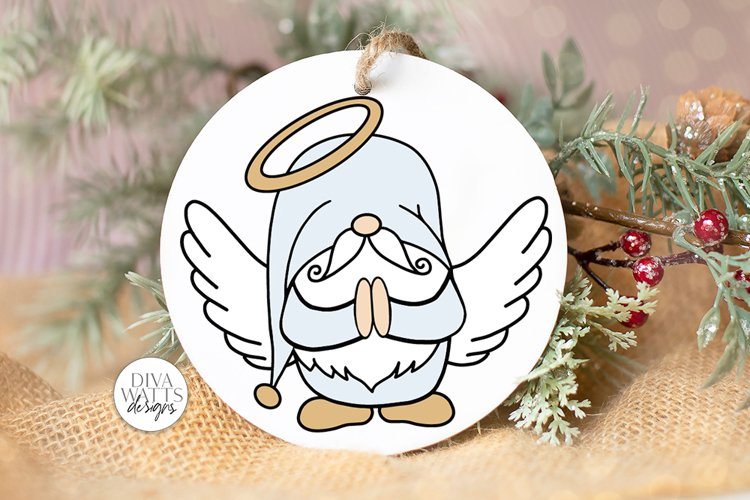 Angel Gnome SVG   Christmas Gnome for Ornaments Shirts Signs example image 1