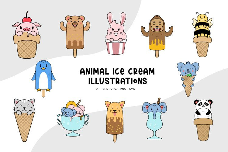 Animal Ice Cream Illustrations