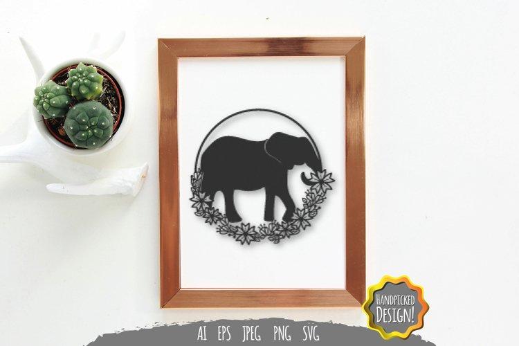 Elephant silhouette Floral Frame Paper Cut SVG File
