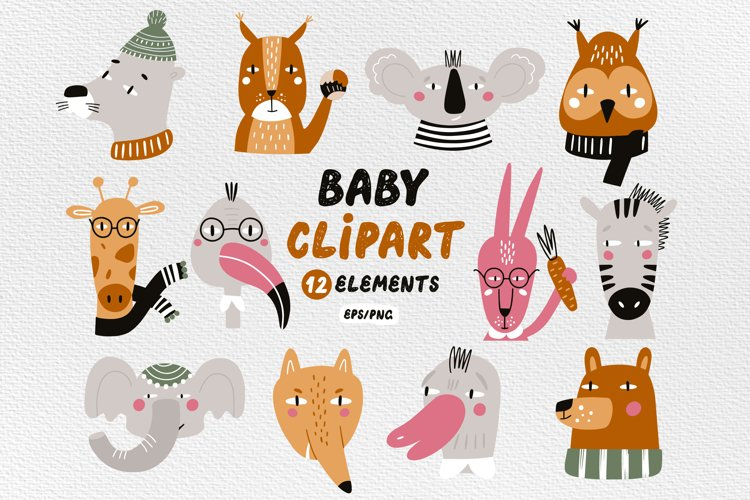 Baby clipart, Animal face clipart, Animal png