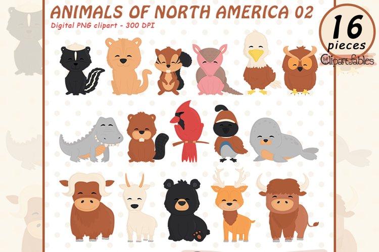 Cute NORTH AMERICAN animals clipart, USA clip art