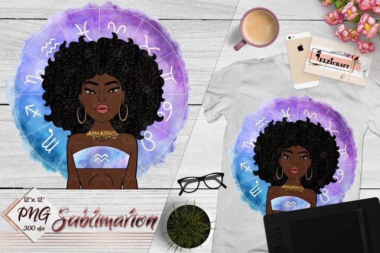 Aquarius Sign, Zodiac, Afro Woman Sublimation Designs