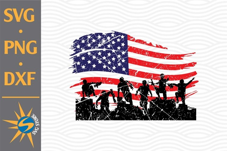 Distressed Soldier American Flag SVG, PNG, DXF Digital Files