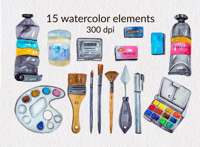 Art Supplies Clipart Watercolor Clipart Artist Clipart PNG