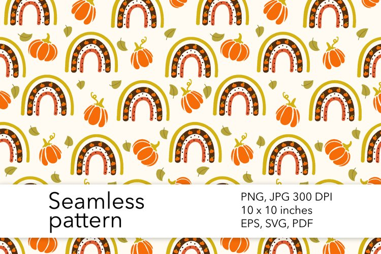 Fall Rainbow Seamless Pattern - Pumpkin Pattern Design example image 1