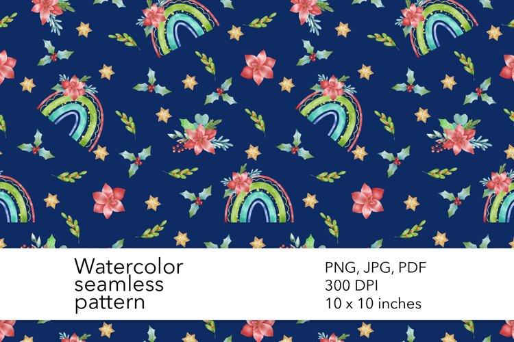 Watercolor Christmas Rainbow Seamless Pattern - Xmas Pattern example image 1