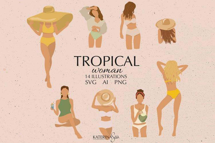 Abstract tropical vector woman