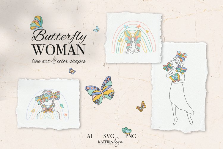 Butterfly woman vector collection