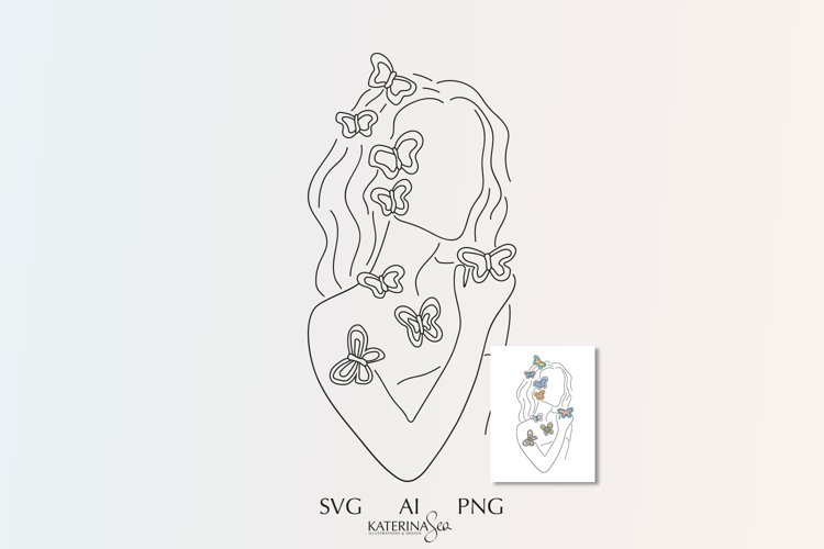 Butterfly woman line art & abstract