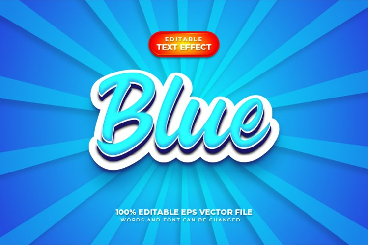 Blue 3D Text Style Effect, Editable Text Style example image 1