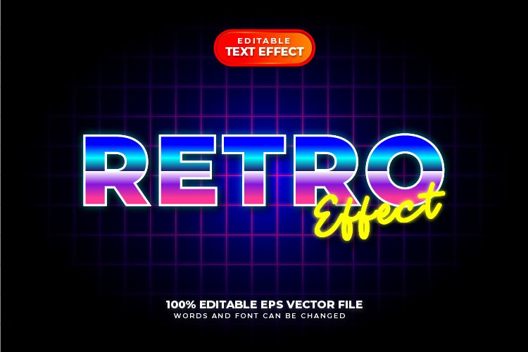 80s Retro Text Style Effect, Editable Text Style example image 1