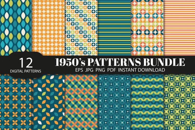 1950s Vintage patterns backgrounds bundle, digital papers