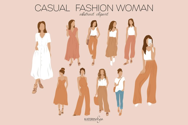 Casual fashion woman abstract clipart