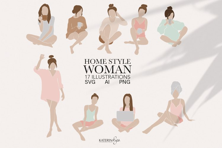 Abstract woman home style clipart