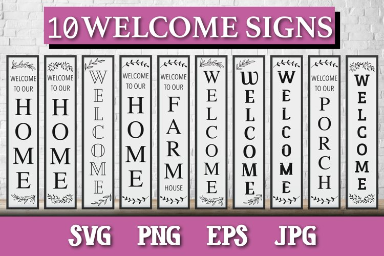 10 porch door signs bundle, Welcome signs, farmhouse, home example image 1