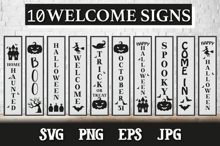 10 Halloween Porch Signs, door vertical signs bundle