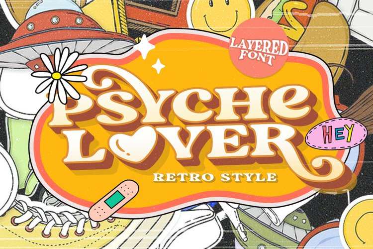 Psyche Lover - Layered Retro Font example image 1