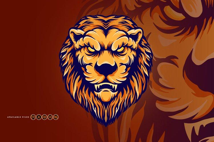 Lion Head Vintage Mascot Cartoon Svg