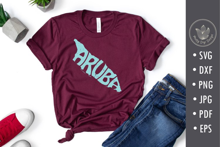 Aruba Word Art in island shape, svg, png, cut file