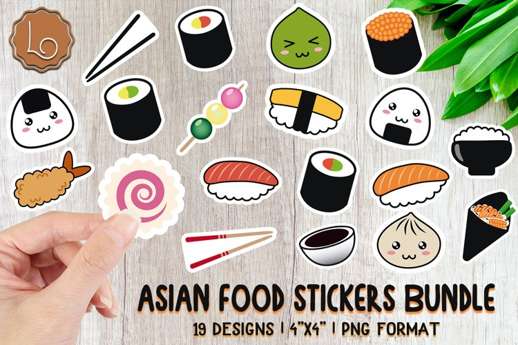 Asian Food Stickers Bundle - 19 Printable Stickers