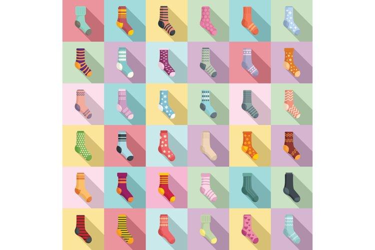 Socks icons set, flat style
