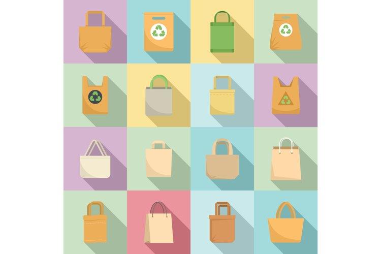 Eco bag icons set, flat style