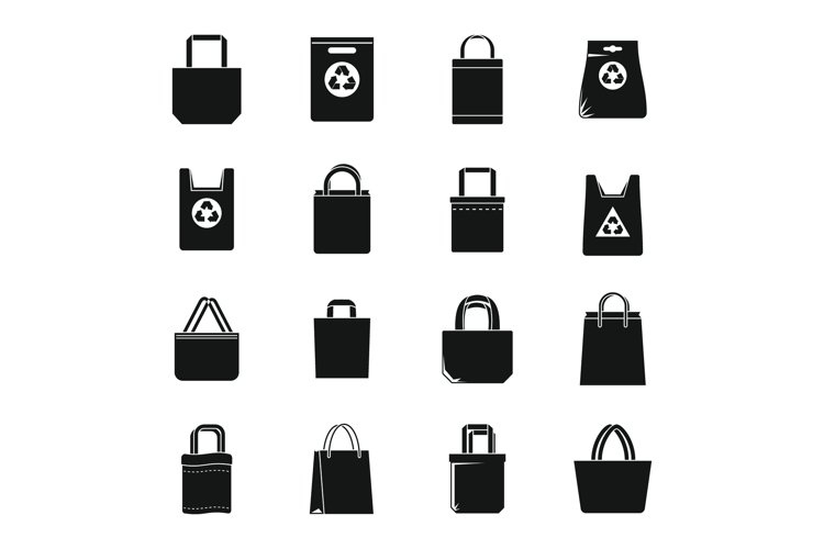 Modern eco bag icons set, simple style