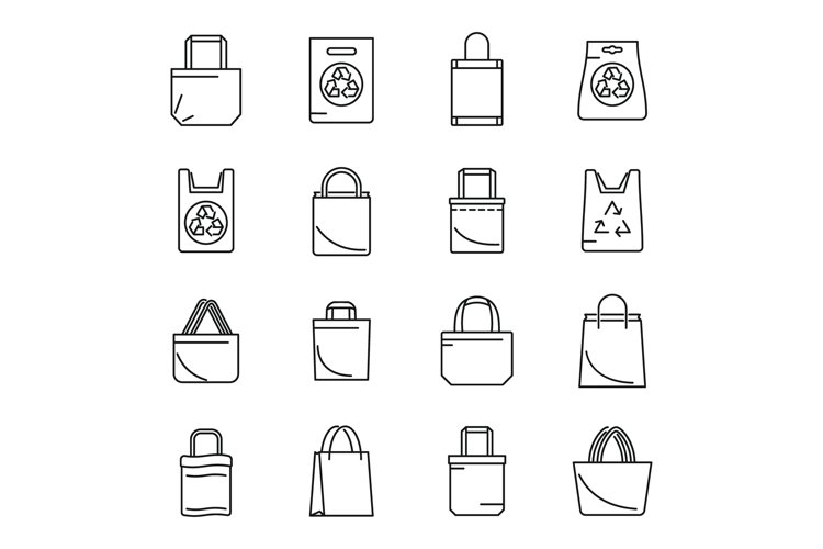 Care eco bag icons set, outline style