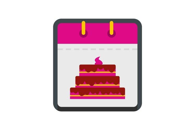 Calendar birthday icon, flat style