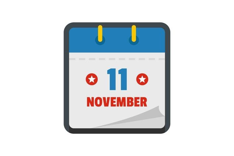Calendar eleventh november icon, flat style