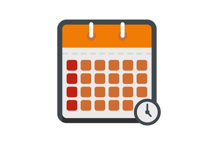 Calendar time icon, flat style