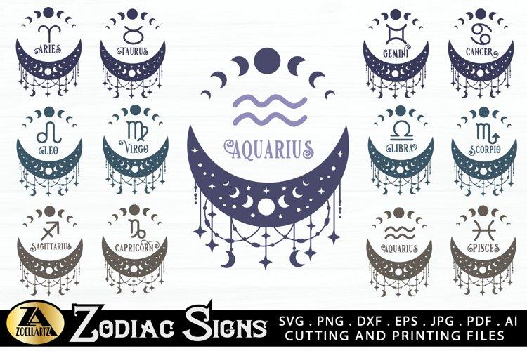 Zodiac Signs SVG Bundle Celestial SVG Astrology Horoscope example image 1