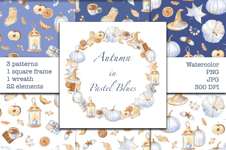 Autumn in Pastel Blues - Watercolor Patterns and Frames