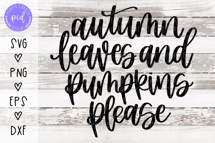Autumn Leaves and Pumpkins Please Hand-Drawn Cut File example image 1