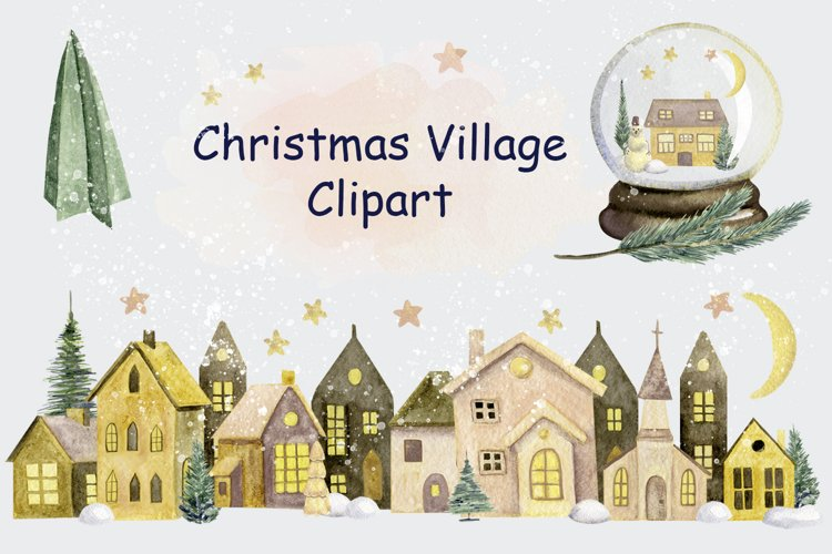 Merry Christmas Watercolor Country house Clipart png, winter