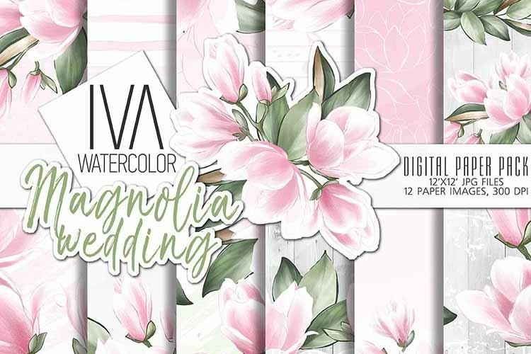 Magnolia Wedding Digital Paper Pack