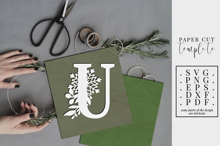 Winter letter U, single initial paper cut, snowflakes SVG example image 1