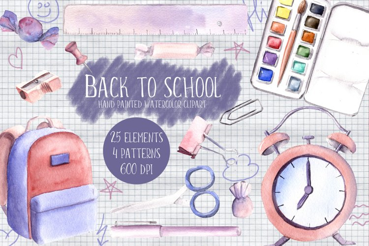 Back to school Watercolor Clipart Hand Painted Illustrations example image 1
