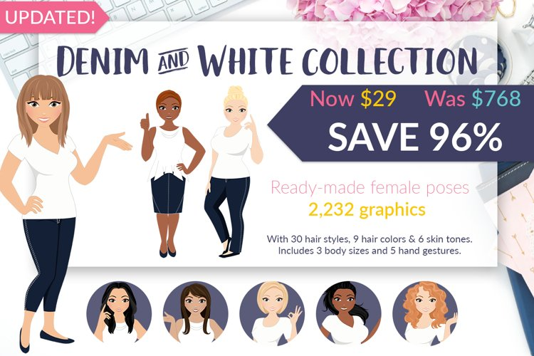Female character bundle, Demin and White Collection, clipart