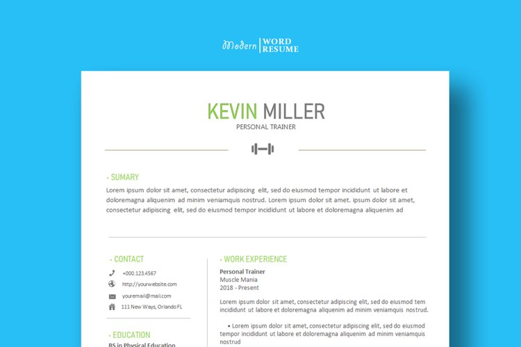 Personal Trainer Resume Template | Cover Letter | Reference example image 1