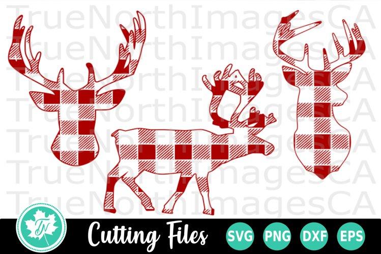 Deer SVG   Reindeer SVG   Buffalo Plaid SVG example image 1